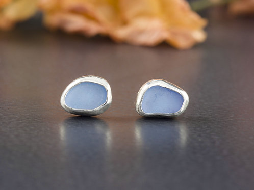 Sterling Silver Sea Glass Stud Earrings
