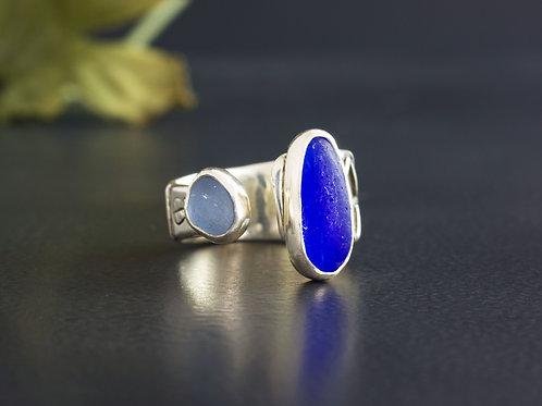Sea Glass Silver Adjustable Ring Cobalt Sz 8
