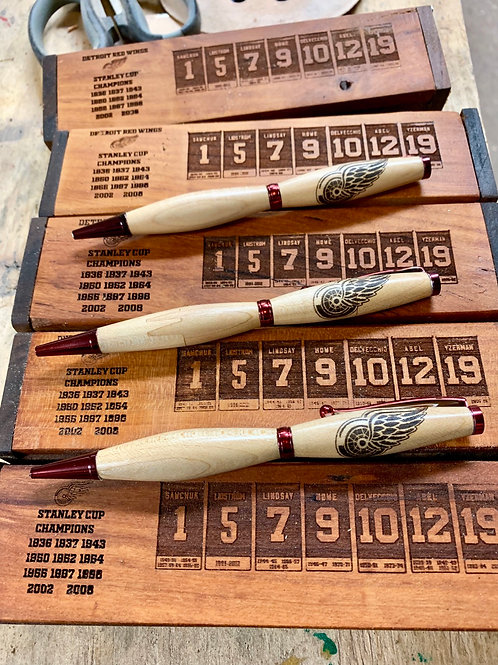 Detroit Redwings wooden pen