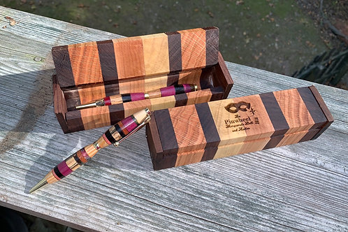 Striped Handmade Wooden pen box