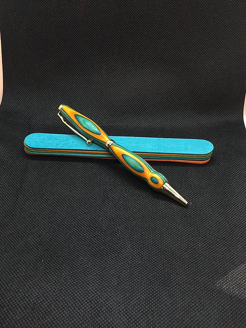 Orange and Turquoise Popsicle Stick Pen