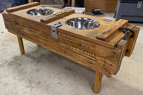 Vintage Ammo Crate with Pet Bowls