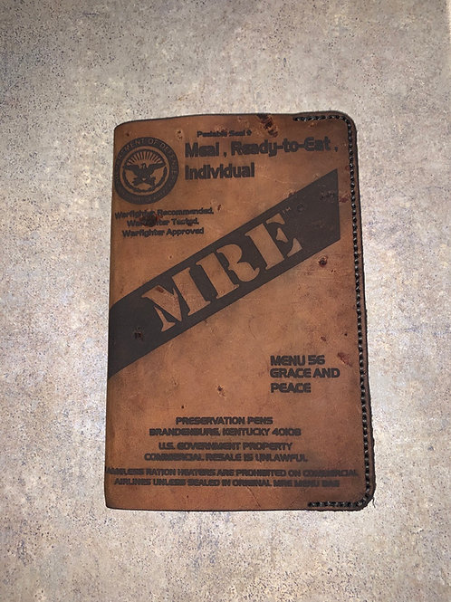 MRE menu 56 Grace and Peace Leather Book Cover