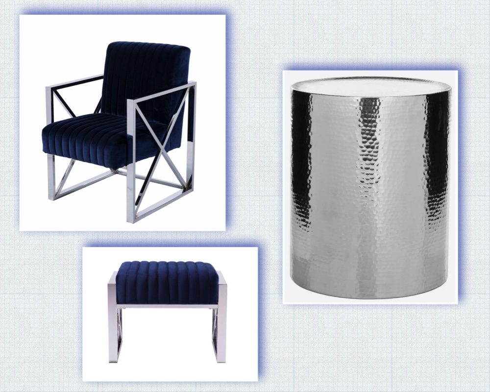 Seating Area - Blue & Silver