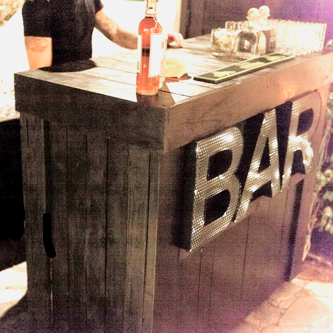 WOOD BAR LIGHTED