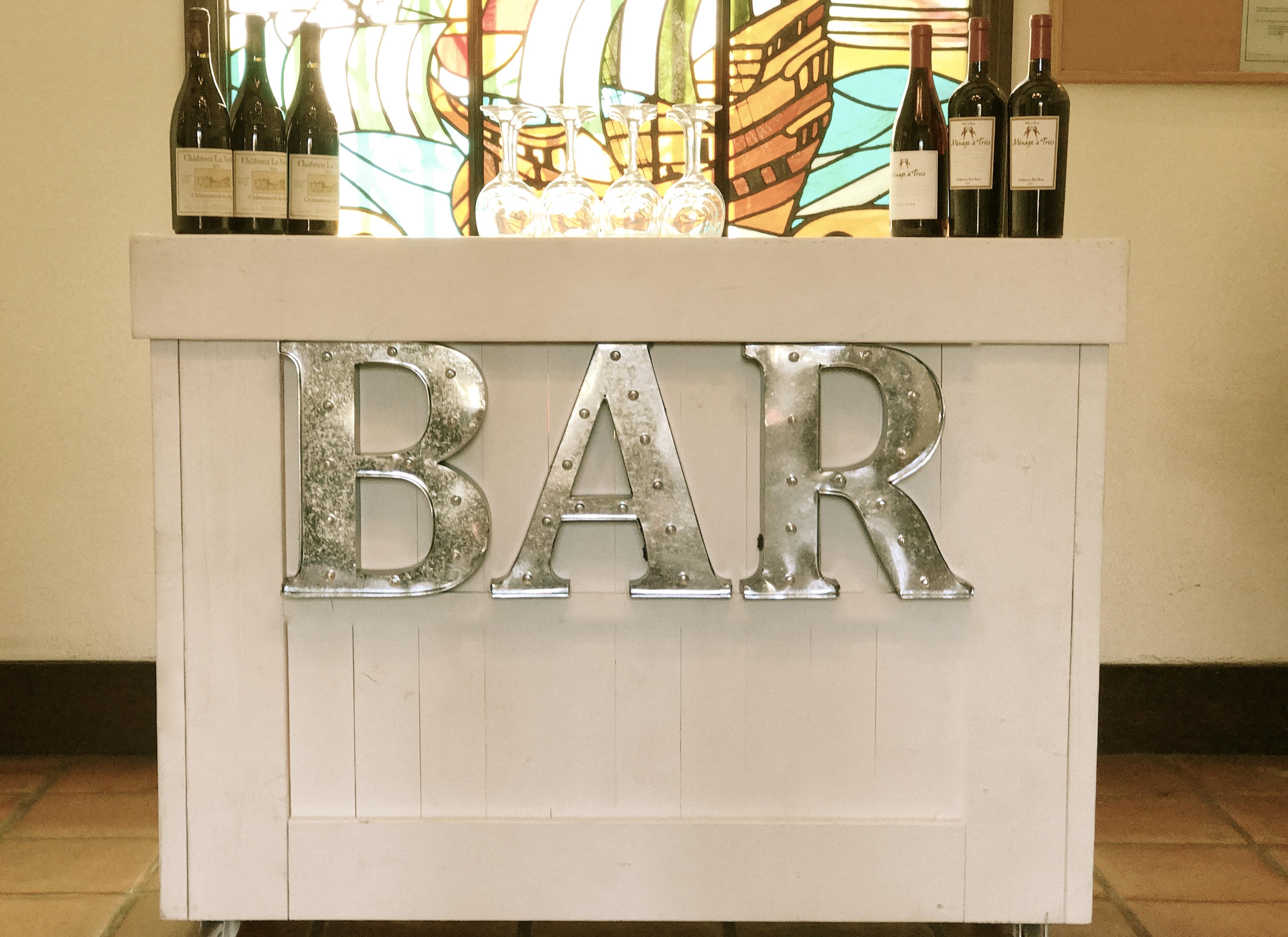 White & Silver Bar
