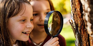 Smiling girls looking at insect through magnifying glass during outdoor environmental education program