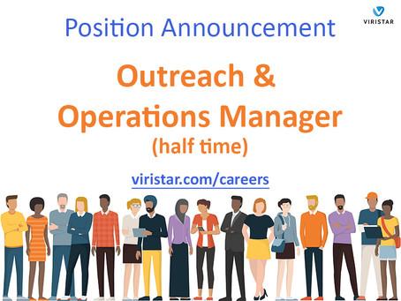 Viristar is Hiring an Outreach & Operations Manager [Update: filled]