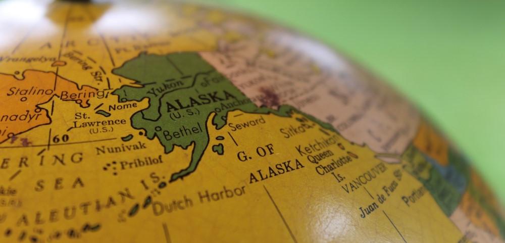 Globe of world, showing Alaska