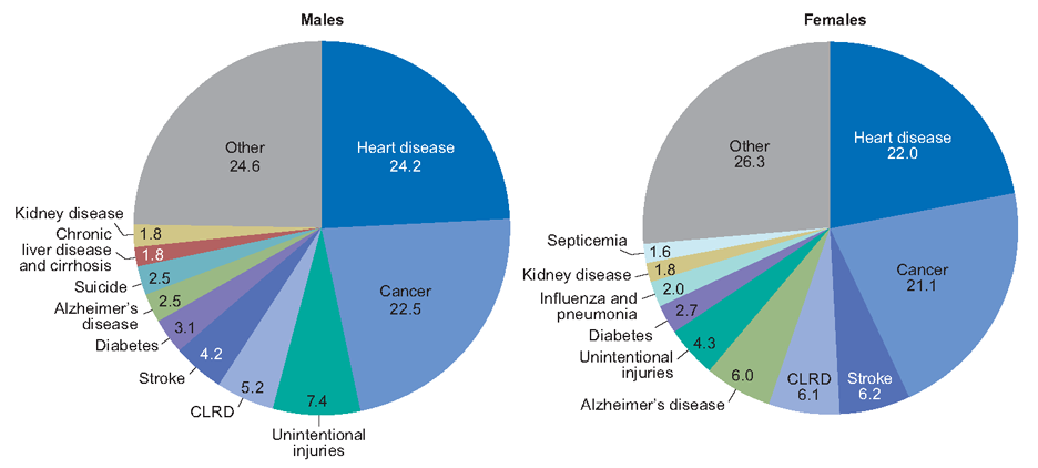 Percent distribution of 10 leading causes of death, USA (2016). From Centers for Disease Control.  Heart disease the leading cause. In terms of risk management from outdoor activities, sharks are not a major cause.