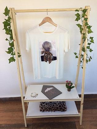 T-shirt laço de menina animal print