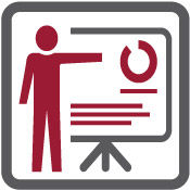 icon of a person presenting graphs on a board for the Services section of the page