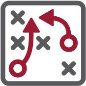 """Icon of two arrows and four """"x"""" marks implying strategy under the Project Planning & WBS segment"""