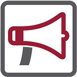 Megaphone icon in burgundy and gray color with Promotions button below it.