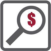 Magnifying glass with a dollar sign in the Pricing segment of the page