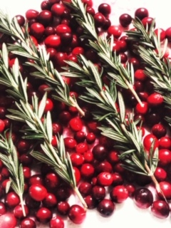 Cranberries and Rosemary Sprigs