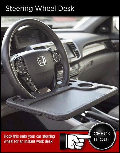 Automotive steering wheel desk table accessory
