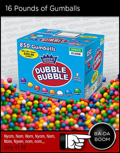 16 Pound Box of Dubble Bubble Gumballs