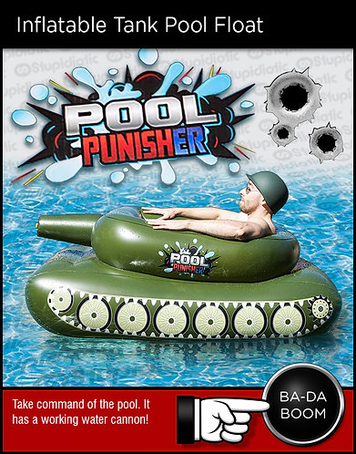 Floating inflatable pool toy army tank with water cannon