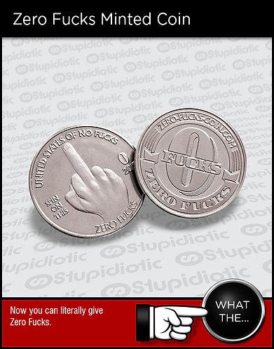 novelty zero fucks coin minted joke prank