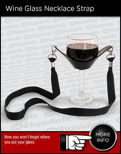 Wine glass neckless lanyard strap holder