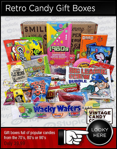 Retro Candy Gift Boxes from the 70's, 80's and 90's