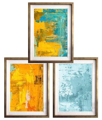 Abstracto Amarillo y Turquesa / 3 diseños disponibles / Desde 35.000 c/u
