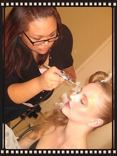 Behind the scenes makeup transformation by Toronto makeup artist Irene Sy, applying Temptu airbrush makeup on model Ashley Sharman. Stunning beautiful airbrush makeup for bridal, weddings, special events, model head shots, glamour and boudoir photo shoots.