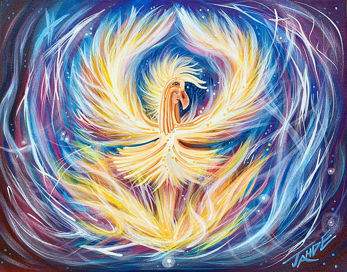 """Scene 2 of the Firebird Series """"Firebird dance"""" : Original painting (11""""x14"""")"""