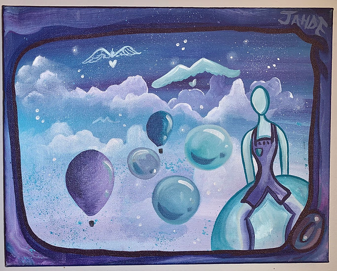 """Original Painting """"Above the Clouds"""" (Size: 11""""x14"""")"""