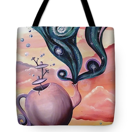 "Tote bag of ""Magic Tea"" (Size: 16""X16"")"