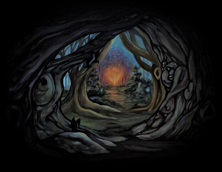 "Scene 1 Firebird Series ""A dark and mysterious forest"": Canvas Print (11""x14"")"
