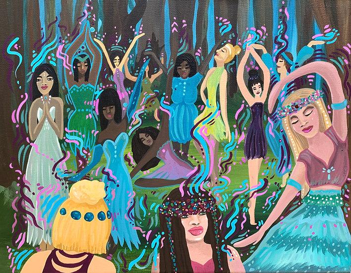 "Scene 4 of the Firebird Series ""Free Dance"" : Original Painting (11""x14"")"