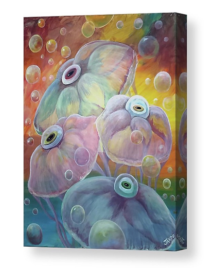 "Canvas Print of ""Rainbow Jellies"" (Size: 11"" X 14"")"