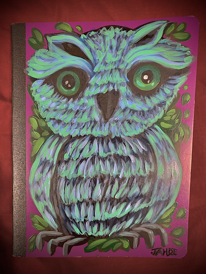 """Hand-Painted Composition book / Notebook """"wisdom"""""""