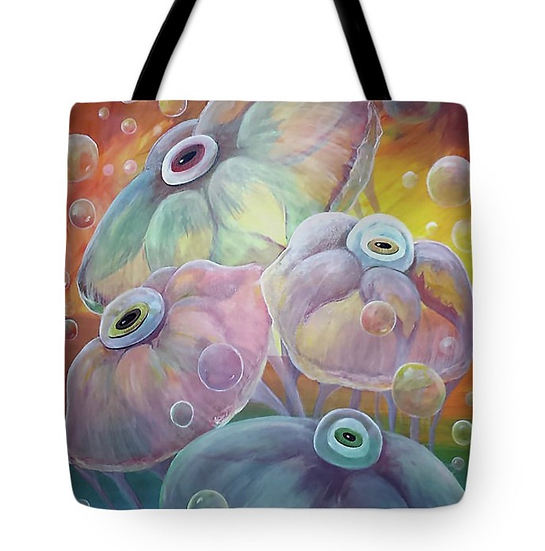 "Tote bag of ""Rainbow Jellies"" (Size: 16""x16"")"