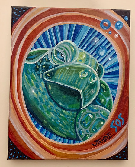 "Original Painting ""Turtle Love"" (Size: 8""X10"")"