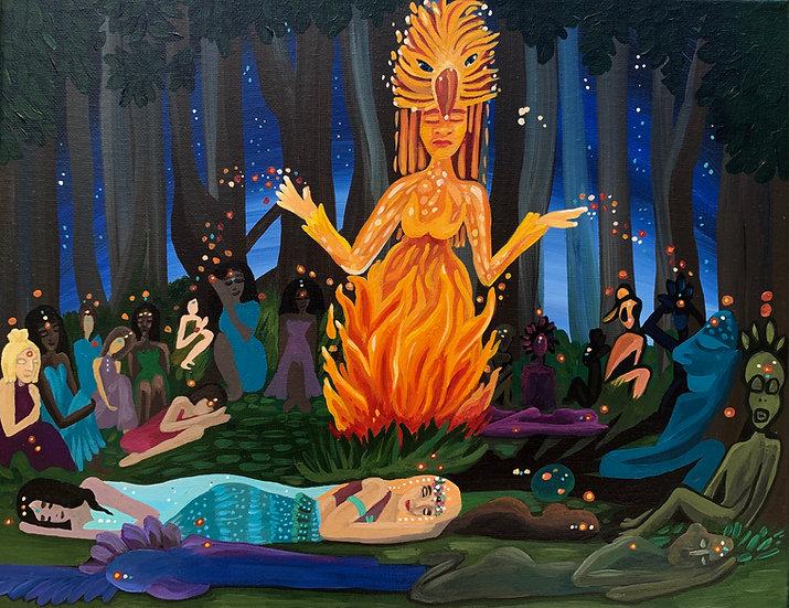 "Scene 7 of the Firebird Series ""Lullaby Sleep"" :  Original Painting (11""x14"")"