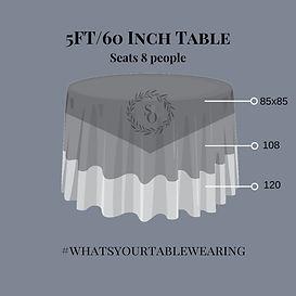 5 ft Table Linen size measurement guide
