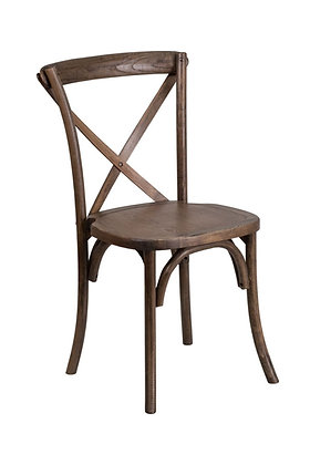 Cross back wooden farm chair rental for rustic backyard wedding or event in Grand Rapids, Grand Blanc, Traverse City Michigan