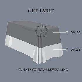 6 ft table linen size measurement guide