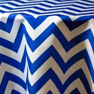 Royal Blue and White Chevron Printed Poly