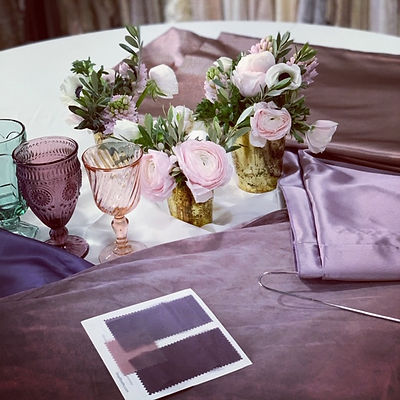 Blush, pink and purple wedding swatch colors and design