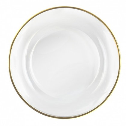 Gold Rim Glass Charger Plate Rental for wedding and event in Grand Rapids, Grand Blanc and Traverse City Michigan