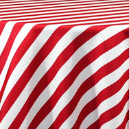 Red and White Stripe Printed Poly