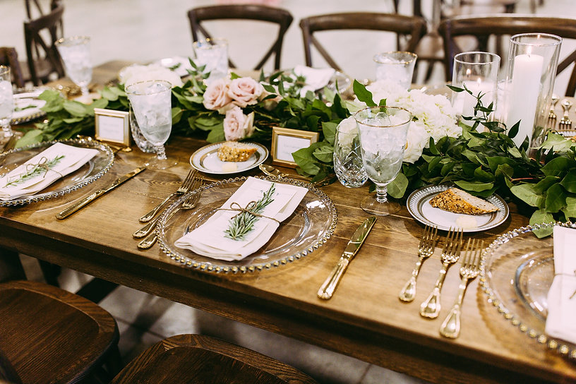 Farm Table, gold silverware, glass charger rental near Grand Rapids Wedding and Event Rental Company