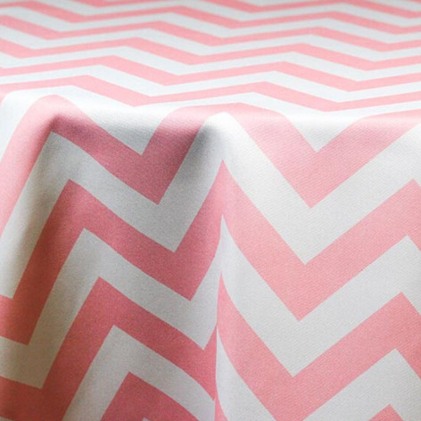 Pink and White Chevron Printed Poly