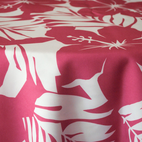 Hot Pink Hibiscus Printed Poly