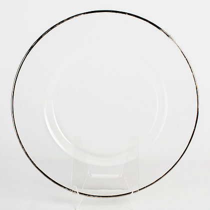 Silver rim Glass Charger plate rental for wedding in Grand Rapids, Grand Blanc, Traverse City Michigan