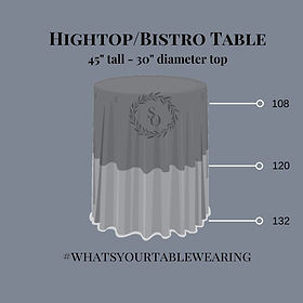 Hightop Cocktail Table linen size measurement guide